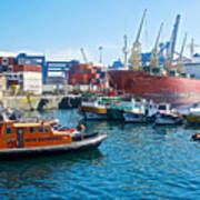 Freighter And Shipping Containers In Port Of Valpaparaiso-chile Poster