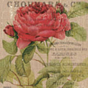 French Burlap Floral 1 Poster