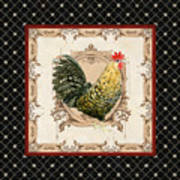 French Country Roosters Quartet Black 3 Poster