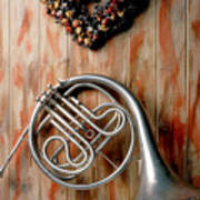 French Horn Hanging On Wall Poster