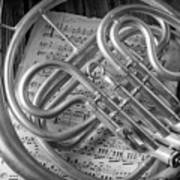 French Horn In Black And White Poster