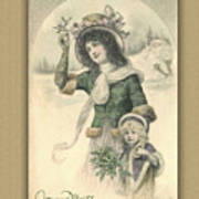 French Mother And Child Christmas Card Poster