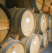 French Oak Barrels Of Wine At Midnight Poster