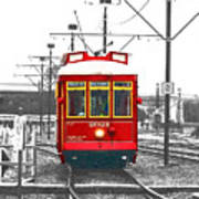 French Quarter French Market Cable Car New Orleans Color Splash Black And White With Film Grain Poster
