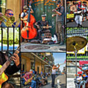 French Quarter Musicians Collage Poster