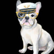 Frenchie French Bulldog Yellow Glasses Captains Hat Dogs In Clothes Poster