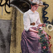 Frescoe Painting Of A Woman In Traditional Dress With Flowers Am Poster
