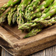 Fresh Asparagus On Rustic Wooden Server Board Poster
