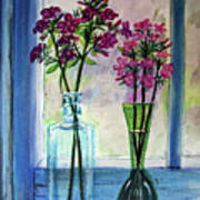 Fresh Cut Flowers In The Window Poster
