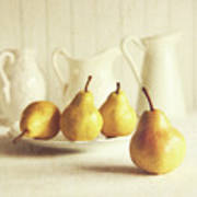 Fresh Pears On Old Wooden Table Poster