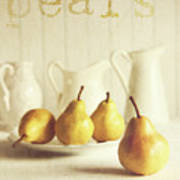 Fresh Pears On Old Wooden Table With Vintage Feeling Poster by Sandra Cunningham