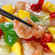 Fresh Shrimp And Peppers On White Serving Plate Ready To Eat Poster