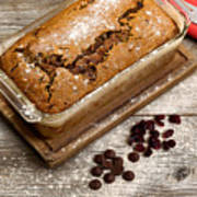 Freshly Baked Zucchini Bread On Rustic Wooden Boards Poster