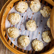 Freshly Cooked Dumplings Inside Of Bamboo Steamer Ready To Eat  Poster