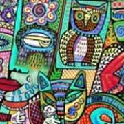 -frida's Garden Owl And Cat Poster