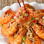 Fried Bread Coated Shrimp And Garnishes On White Serving Plate R Poster