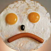 Fried Breakfast Of Eggs And Sausage Made Into A Frowning Face Poster