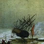 Friedrich Caspar David Wreck By The Sea Poster