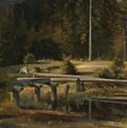 Friedrich Voltz 1817 Nordlingen   Munich 1886 Forest Clearing At A Pond Poster