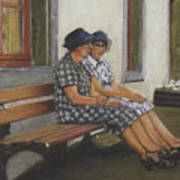 Friends Seated In Bench Poster by Leonor Thornton