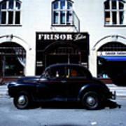 Frisor And Black Car  Copenhagen Denmark Poster
