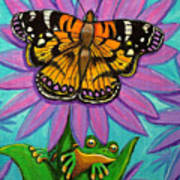 Frog And Butterfly Poster