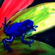 Frog On Leaf Poster