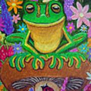 Frog On Mushroom Poster