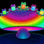 Frogs And Rainbow Mushroom Poster