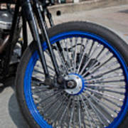 Front Wheel With Blue Rims And Fat Chrome Spokes Of Vintage Styl Poster