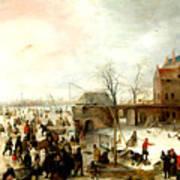 Frozen River Near A Town Poster
