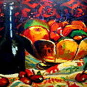 Fruit Bowl And Bottle Poster