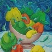 Fruit Bowl With Blue Background 2006 Poster