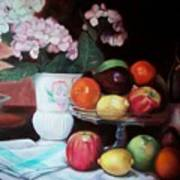 Fruit On Glass Dish II Poster