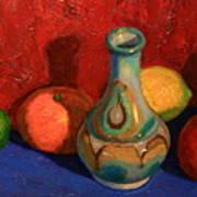 Fruit With Ceramic Vase Poster