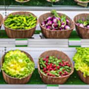 Fruits And Vegetables On A Supermarket Shelf Poster