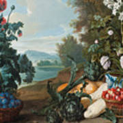 Fruits Flowers And Vegetables In A Landscape Poster