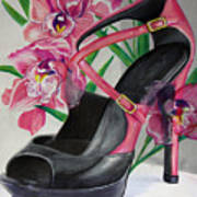 Fuchsia Orchid Colour Block Poster by Karon Melillo DeVega