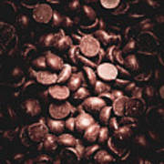 Full Frame Background Of Chocolate Chips Poster