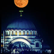 Full Moon Directly Over The Magnificent St. Sava Temple In Belgrade Poster