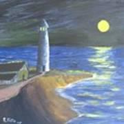 Full Moon Lighthouse Poster