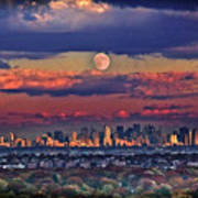 Full Moon Over New York City In October Poster