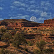 Full Moon Over Red Cliffs Poster