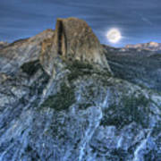 Full Moon Rising Behind Half Dome Poster