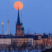 Full Moon Rising Over Gamla Stan In Stockholm Poster
