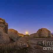 Full Moonrise At City Of Rocks State Poster