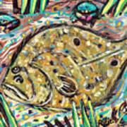 Funky Folk Flounder Poster by Robert Wolverton Jr