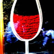 Funky French Red Wine Glass Poster