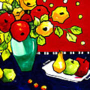 Funny Flowers And Fruit Poster