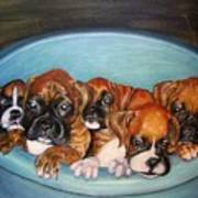 Funny Puppies Orginal Oil Painting Poster